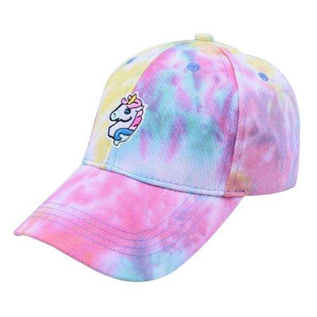TURNTABLE LAB Unicorn Embroidered Colorful Peaked Baseball Cap Sun Visor Hat for Women
