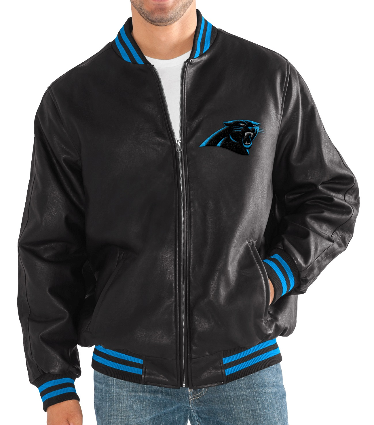"Carolina Panthers G-III NFL ""Stiff Arm"" Men's Premium Varsity Jacket by G-III Sports"