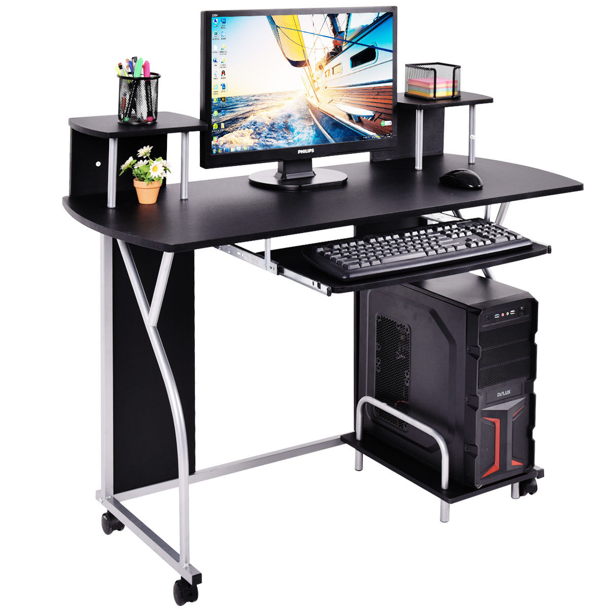 Costway Rolling Computer Desk PC Laptop Desk Pull Out Tray Home Office  Workstation Black