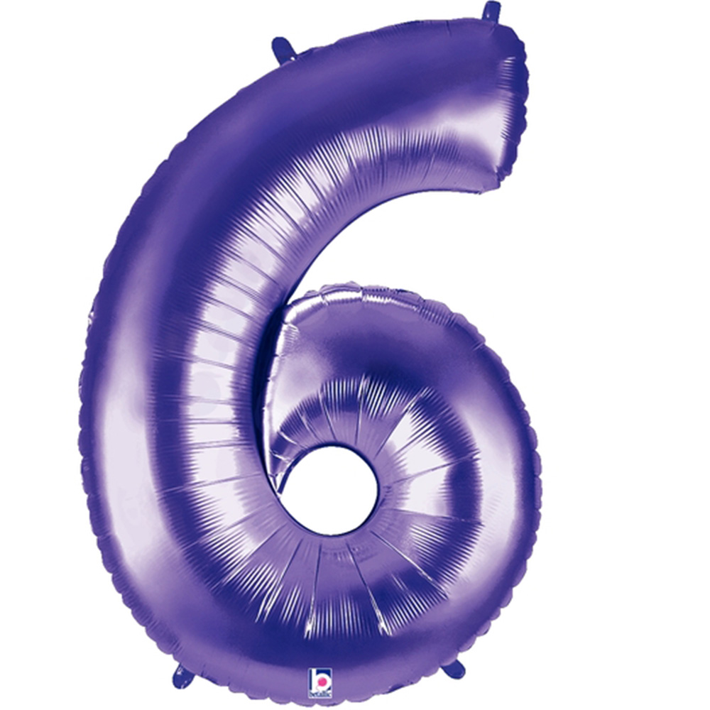 Giant Purple Number 6 Foil Balloon 40""