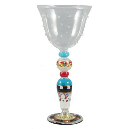 Set of 2 Mosaic Carnival Confetti Mouth Blown Hand Painted Textured Wine Glasses ()