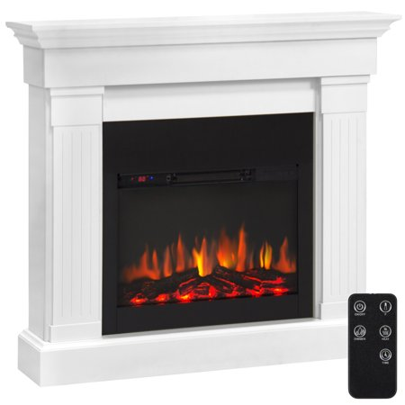 Best Choice Products 4700 Btu Wood Mantel Electric Fireplace W  Remote Control  Mounting Brackets Included