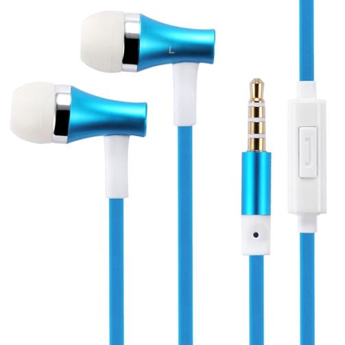 Premium Sound Blue Earbuds Hands-free Earphones w Mic Dual Metal Headphones Headset In-Ear Wired [3.5mm] ZYY for Alcatel A30 Plus, Dawn, Fierce 4, Idol 4 4S 5S, Jitterbug Smart, One Touch Fierce XL