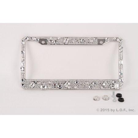 Silver Large Bling Glitter Crystal RhineStone License Plate Frame ...