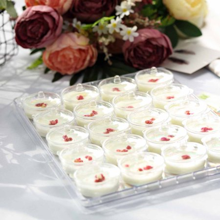 Plastic Party Trays With Lids (Efavormart 40 Pack 2 oz Clear Disposable Round Dessert Cups with Lids Serving Tray Mini Pot For Wedding Party Events(2)