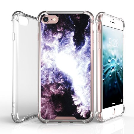 [Case for Apple iPhone 7] + Tempered Glass Screen Protetor  [CLEAR HARD TPU PROTECTIVE BUMPER] Case Galaxy (Burning Man Glasses)