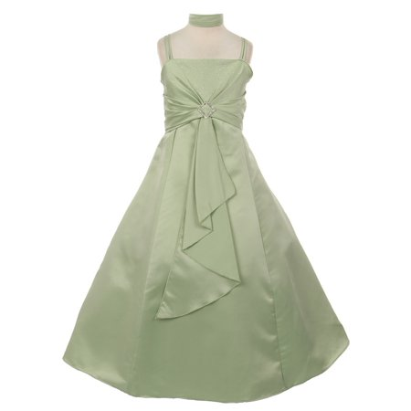 Girls Sage Satin Rhinestone Buckle Shawl Special Occasion Dress - Boucle Dress