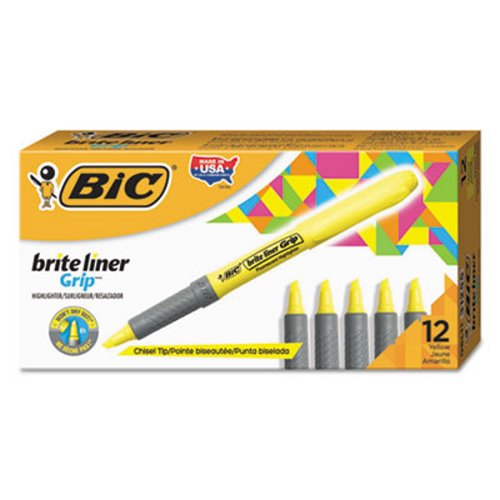 Bic Highlighter, Chisel Tip, Fluorescent Yellow, 12 Highlighters (BICGBL11YW)