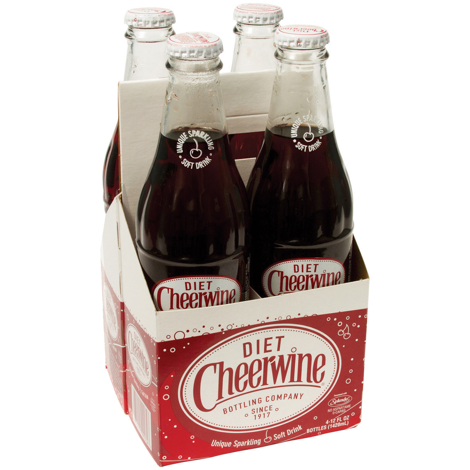 Diet Cheerwine® Cherry Soft Drink 12 ounce Glass Bottle, 4-Pack