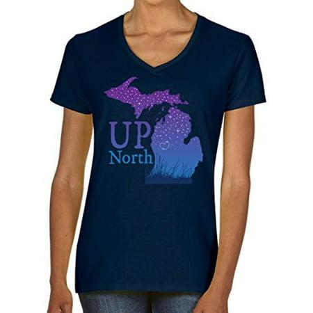 J2 Sport Michigan Up North Stars Ladies T-Shirt All Star Sports Clothes