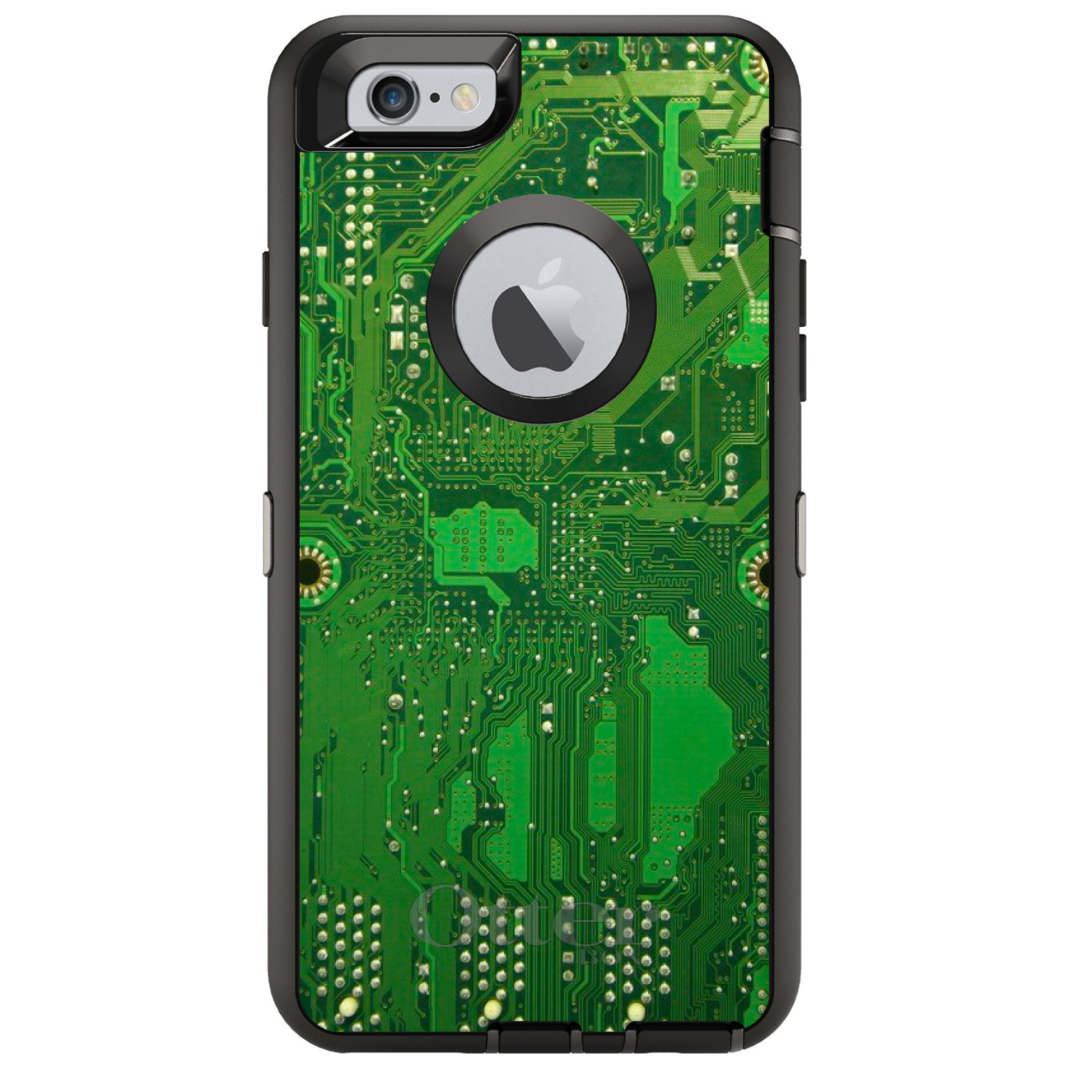 "DistinctInk™ Custom Black OtterBox Defender Series Case for Apple iPhone 6 Plus / 6S Plus (5.5"" Screen) - Green Circuit Board"