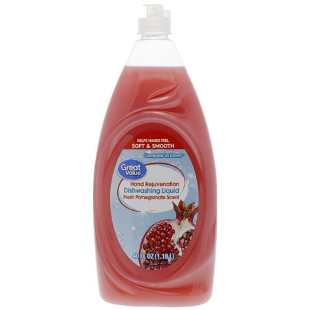 Great Value Hand Rejuvenation Dishwashing Liquid, Fresh Pomegranate, 40 fl (Best Dishwashing Liquid For Hands)