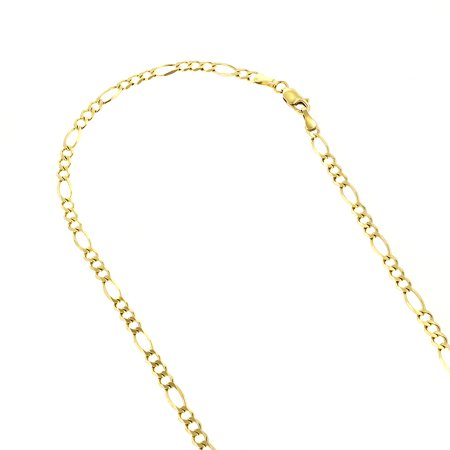 10K 18 Yellow Solid Gold 3mm Diamond Cut Figaro Chain Link Necklace with Lobster Clasp