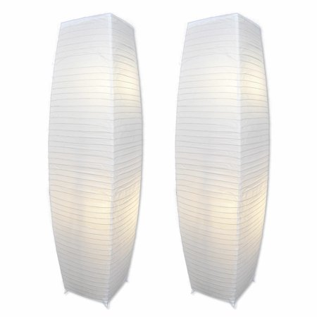 Decor Works Chrome Floor Lamp Set with Pure-White Paper Shades (Set of 2)](Rice Paper Lamp)
