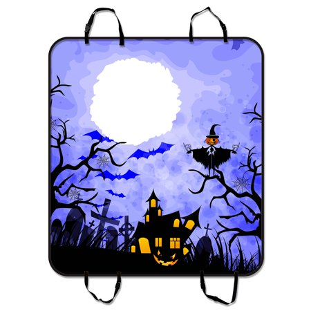 YKCG Halloween Pumpkin Scarecrows Starry Night Black Trees Pet Seat Cover Car Seat Cover for Pets Cargo Mats and Hammocks for Cars Trucks and SUVs 54x60 (It's Halloween Night Cars)