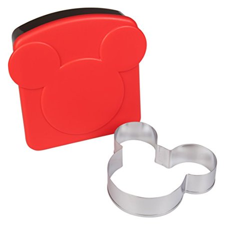 Disney Mickey Mouse Sandwich Crust and Cookie Cutter with Plastic Storage Container - Great for Lunches, Snacks and Baking (Mickey Mouse Cookie Cutter Large)
