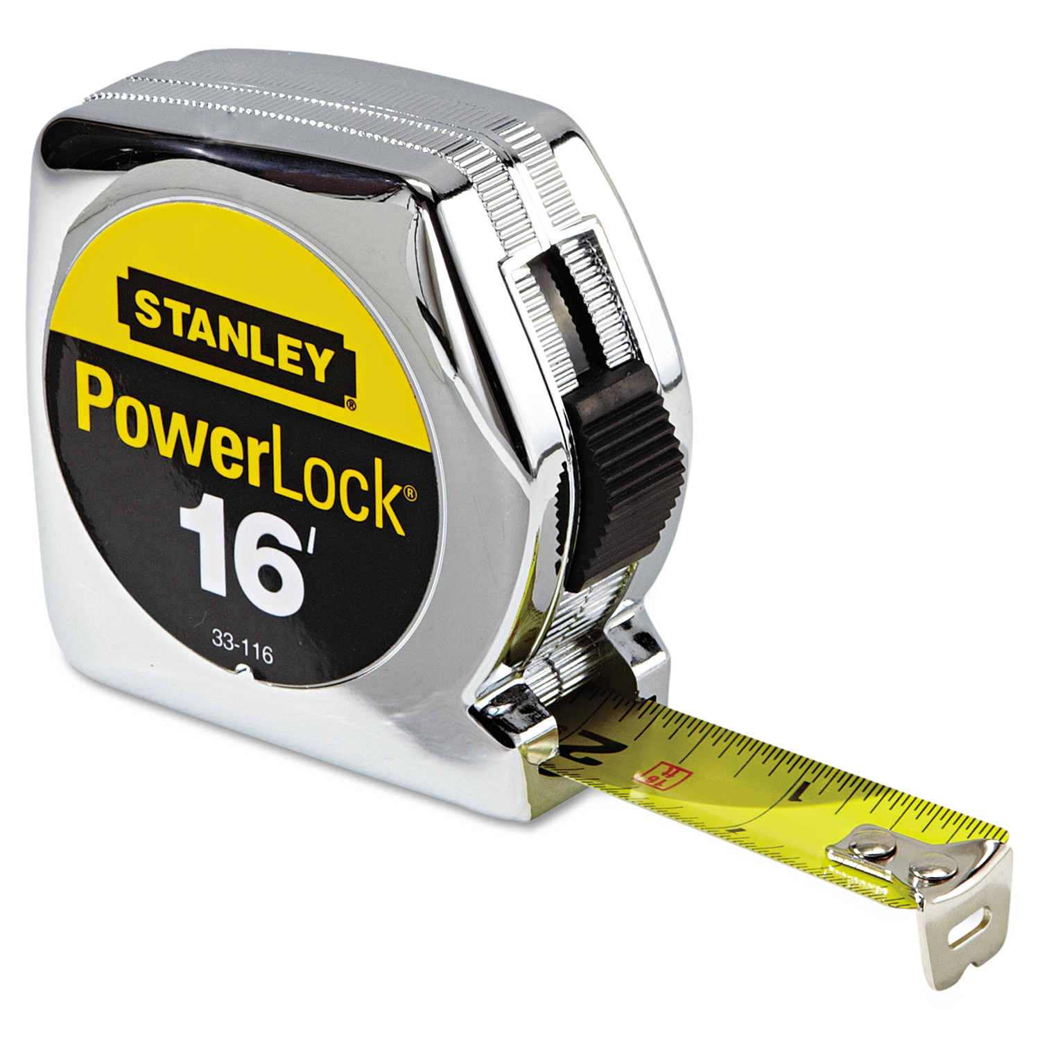 "Stanley Tools Powerlock Tape Rule, 3/4"" x 16ft, Plastic Case, Chrome, 1/32"" Graduation"
