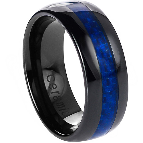 Daxx Men's Ceramic Blue Carbon Fiber Inlay Ring