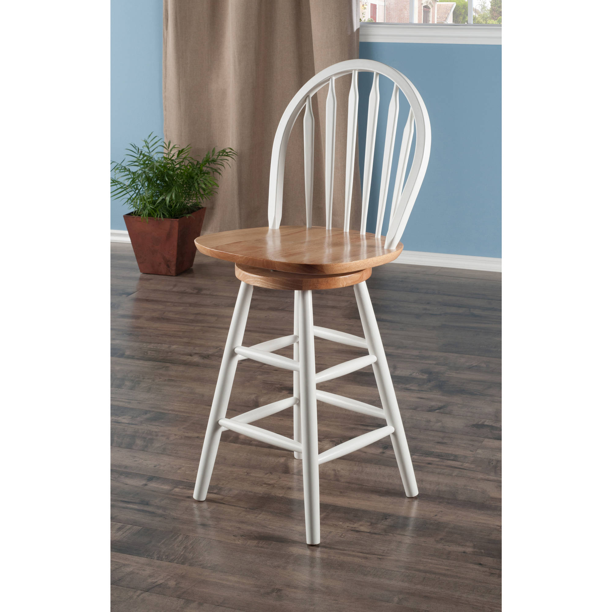 Arrowback Windsor Swivel Counter Stool 24'', Multiple Finishes