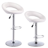 Costway Set Of 2 Bar Stools Adjustable PU Leather Barstools Swivel Pub Chairs White
