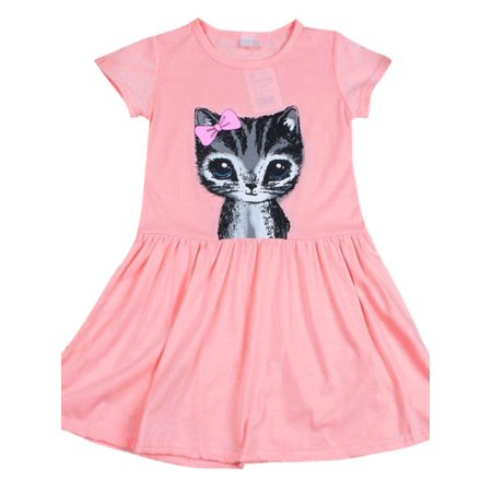 Girls Coat Dress (Toddler Baby Girl Bow Cat Print Cotton Dress Kids Short Sleeve)