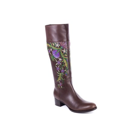 Car Shoe By Prada Brown Embroidered Floral Leather Boots