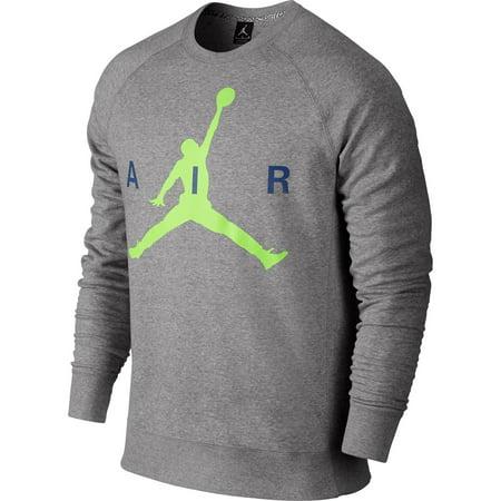 Air Jordan Jumpman Graphic Brushed Crew Mens' Sweatshirt Grey-Volt-Blue 689014-063