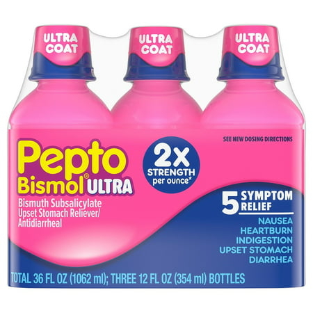 Pepto Bismol Ultra Strength Liquid, Original, 12 Fl Oz, 3 Ct