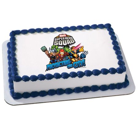 Marvel Super Hero Squad - Teamwork Edible Icing Cake Topper Party Supplies (Marvel Cake Toppers)
