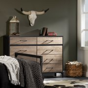 South Shore Valet 8-Drawer Double Dresser, Weathered Oak and Rubbed Black