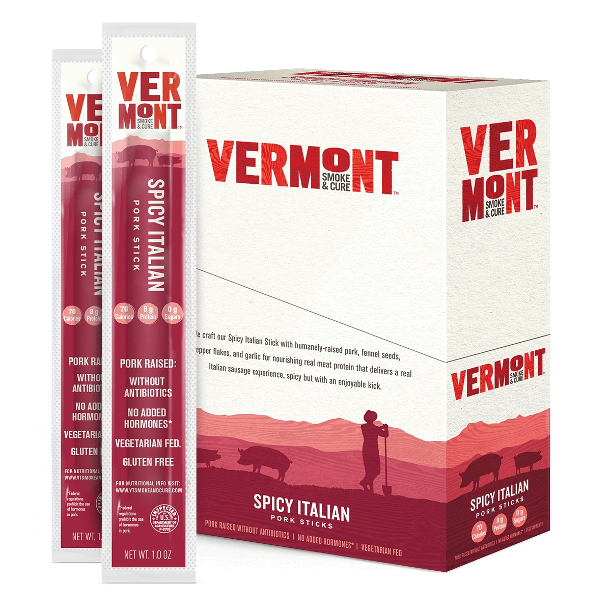 Vermont Smoke & Cure Meat Sticks, Pork, Antibiotic Free, Gluten Free, Spicy Italian, 1oz Stick, 24 Count