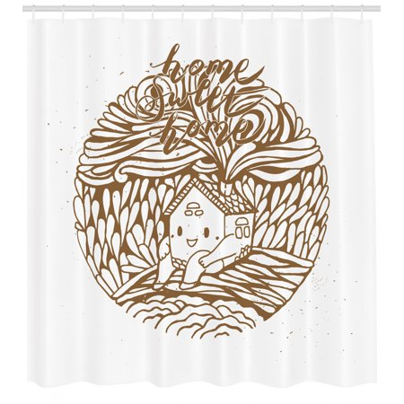Home Sweet Home Shower Curtain, Cute Doodle House Sitting on a Hill and Spreading Petal Look Smokes, Fabric Bathroom Set with Hooks, 69
