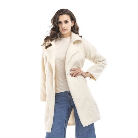 Open Trench - Winter Blended Coat Women Casual Long Open Front Coat Trench Button Cardigan, Creamy