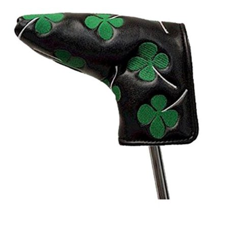 Four Leaf Clover Shamrock Golf Club Head Cover for Anser and Blade Style Putters (Black/Green)