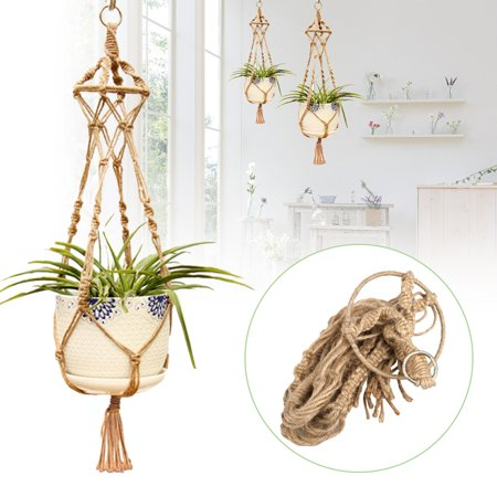TSV Macrame Plant Hangers 4 Legs Indoor Wall Hanging Planter Basket Flower Pot Holder Boho Home Decor