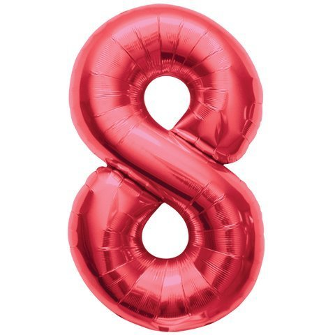 """1 X 34"""" Red Number Eight Balloons"""