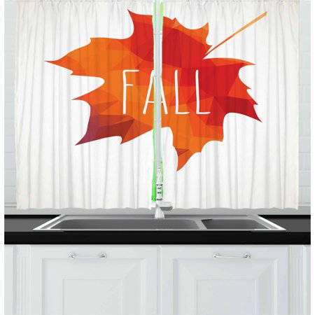 Poly Warm Up Set (Autumn Curtains 2 Panels Set, Low Poly Maple Leaf Design in Warm Colors on Off White Background, Window Drapes for Living Room Bedroom, 55W X 39L Inches, Burnt Orange and Off White, by Ambesonne )