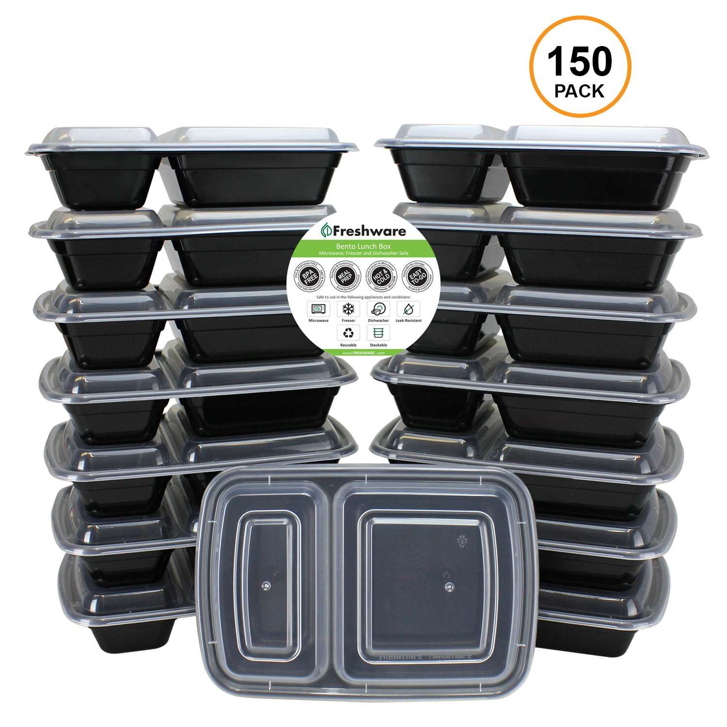 Freshware 150-Pack 2 Compartment Bento Lunch Boxes with Lids - Stackable Reusable Microwave Dishwasher & Freezer Safe - Meal Prep Portion Control 21 Day Fix & Food Storage Containers (25oz), YH-2X150