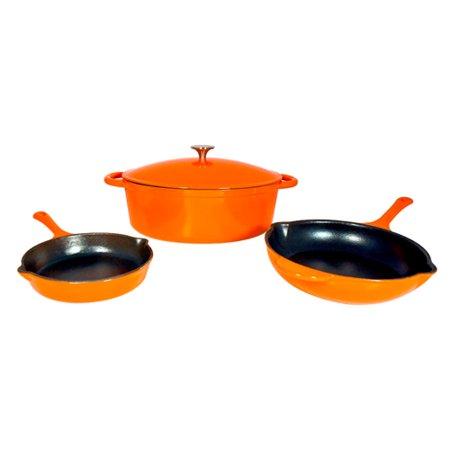 Iron Cookware (Le Chef 4-Piece Enamel Cast Iron Orange Cookware Set. )