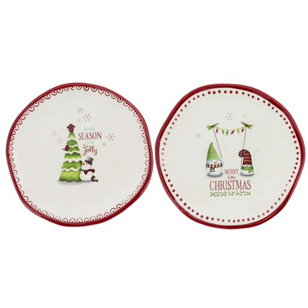 471164 mini decorative christmas holiday plates set of 2 by grasslands road