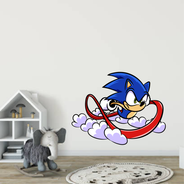 Super Sonic The Hedgehog Smash Running Video Game Inspired Cartoon Character Wall Art Vinyl Sticker Decal
