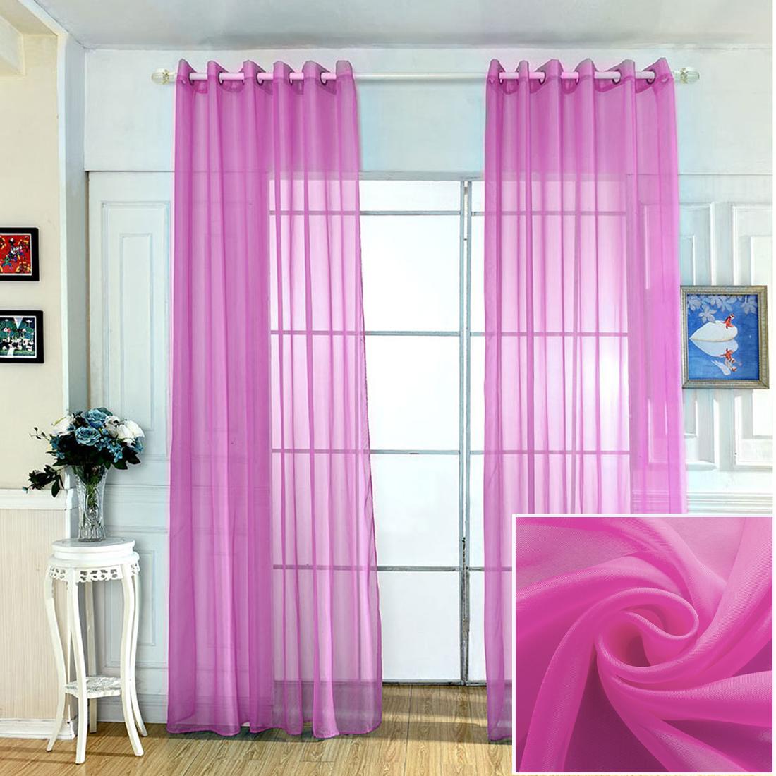 "Solid Window Sheer Voile Curtains Treatment Grommet Drape 39"" X 84""(Each Panel)"