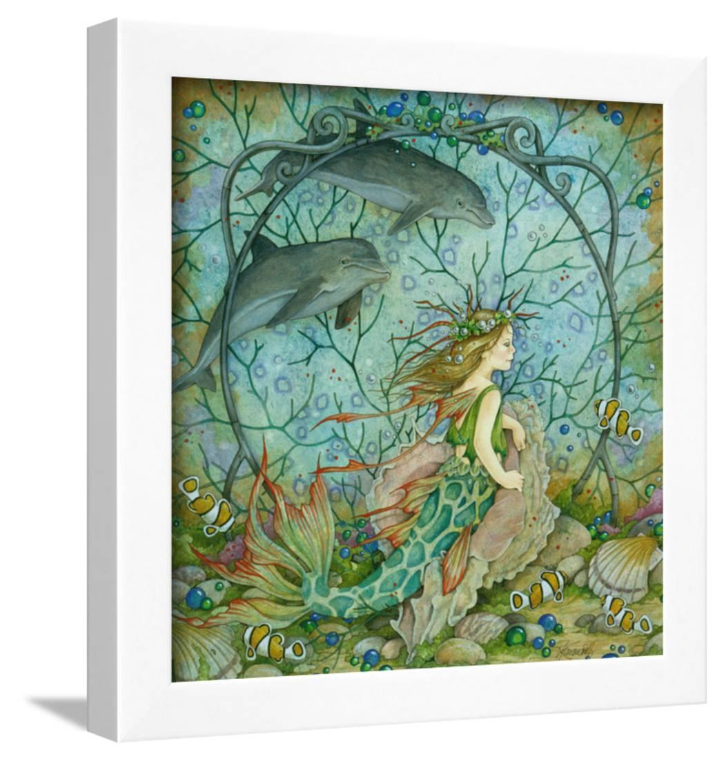 Little Mermaid Framed Print Wall Art By Linda Ravenscroft