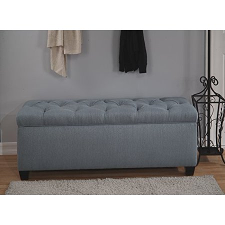 The Sole Secret Bay Blue Diamond Tufted Shoe Storage Bench, (Diamonds On The Soles Of Her Shoes Live)