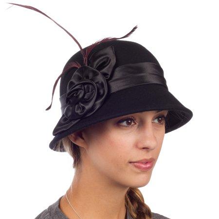 Sakkas Danielle Vintage Style Wool Cloche Hat - Black - One Size - Crazy Hat Store