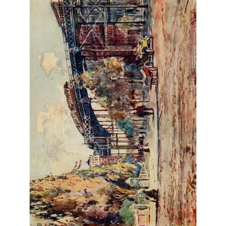 New York Elevated Railway - New York 1911 Elevated Railway at 110th Street Canvas Art - Martin Lewis (18 x 24)