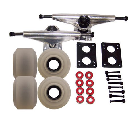 LONGBOARD TRUCKS 65mm SILVER WHEEL Skate Package ABEC 7