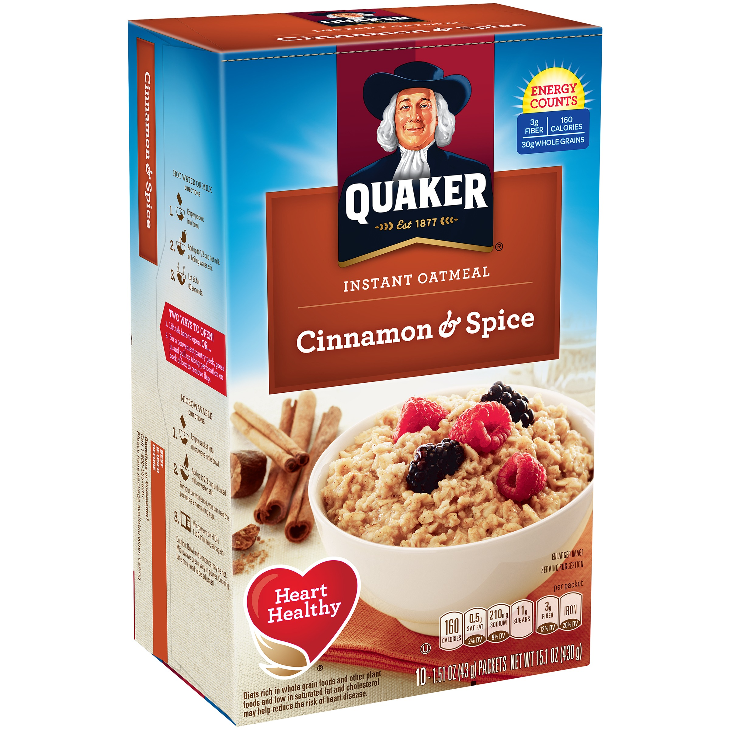 Quaker® Cinnamon & Spice Instant Oatmeal, 10 Count, 1.51 oz Packets