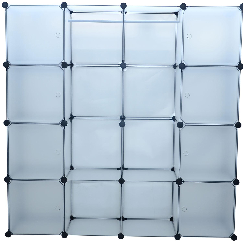 HomCom Plastic Portable Extra Wide Modular Storage Closet Organizer With 8  Enclosed Cubes   Walmart.com