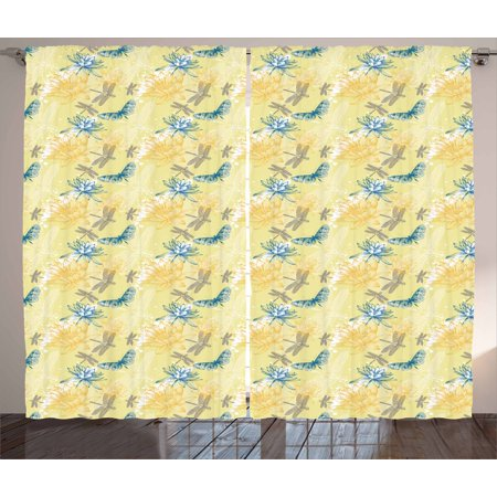 - Dragonfly Curtains 2 Panels Set, Water Lilies and Flying Insects in Artistic Vintage Style Exotic Fauna, Window Drapes for Living Room Bedroom, 108W X 63L Inches, Pale Yellow Blue, by Ambesonne